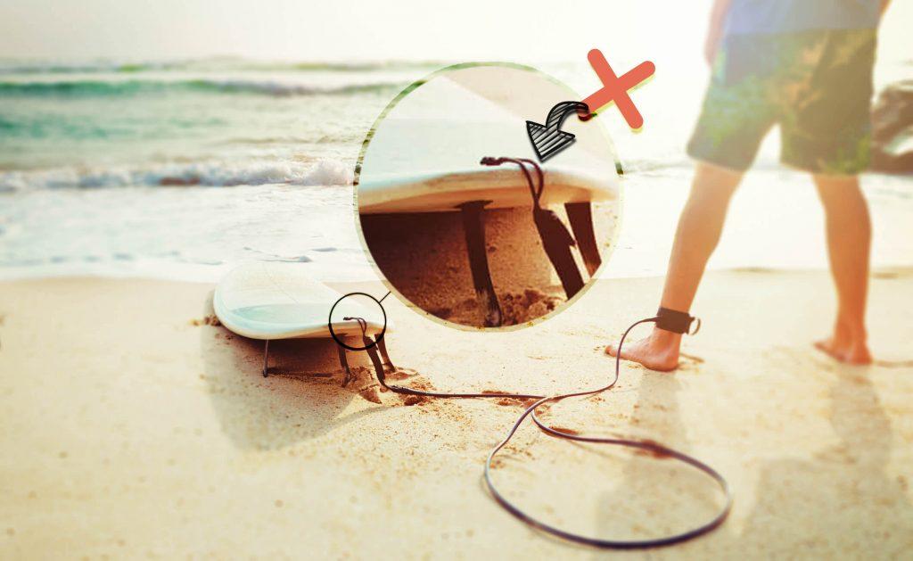 como colocar leash invento en la tabla de surf